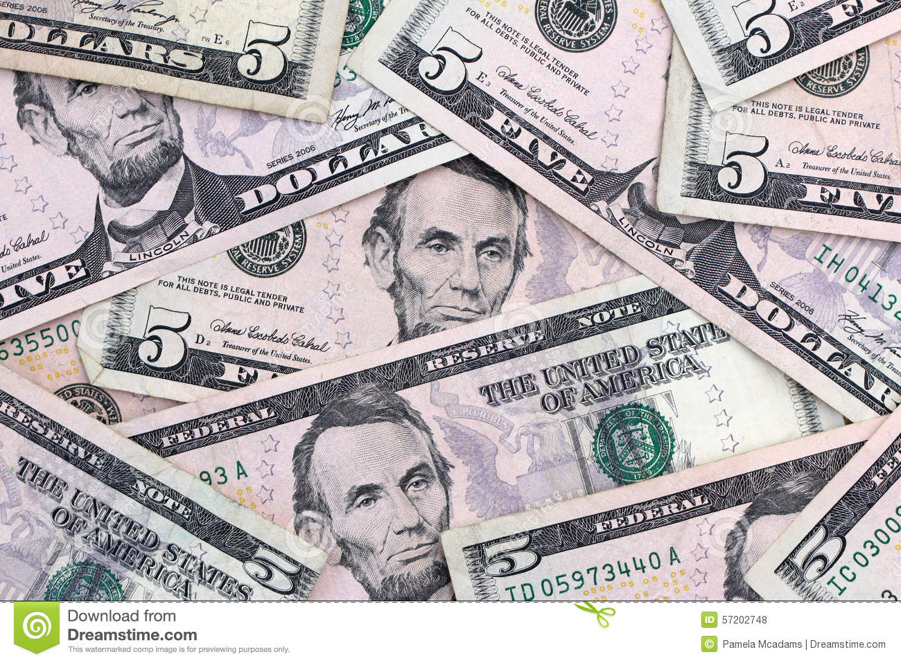 Five Dollar Bills Stock Photo Image Of Money American