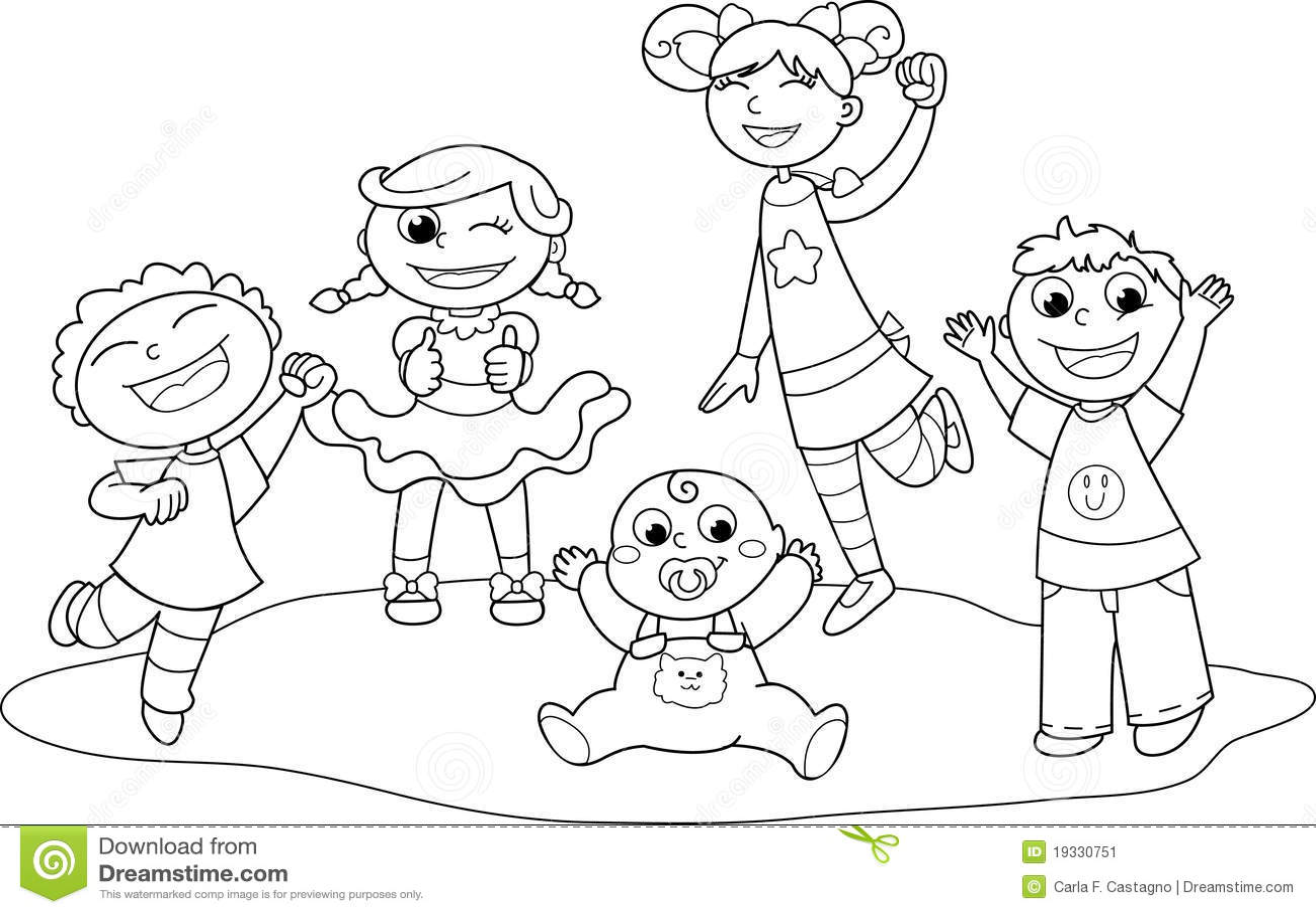 Five Happy Children Stock Vector Illustration Of Girl