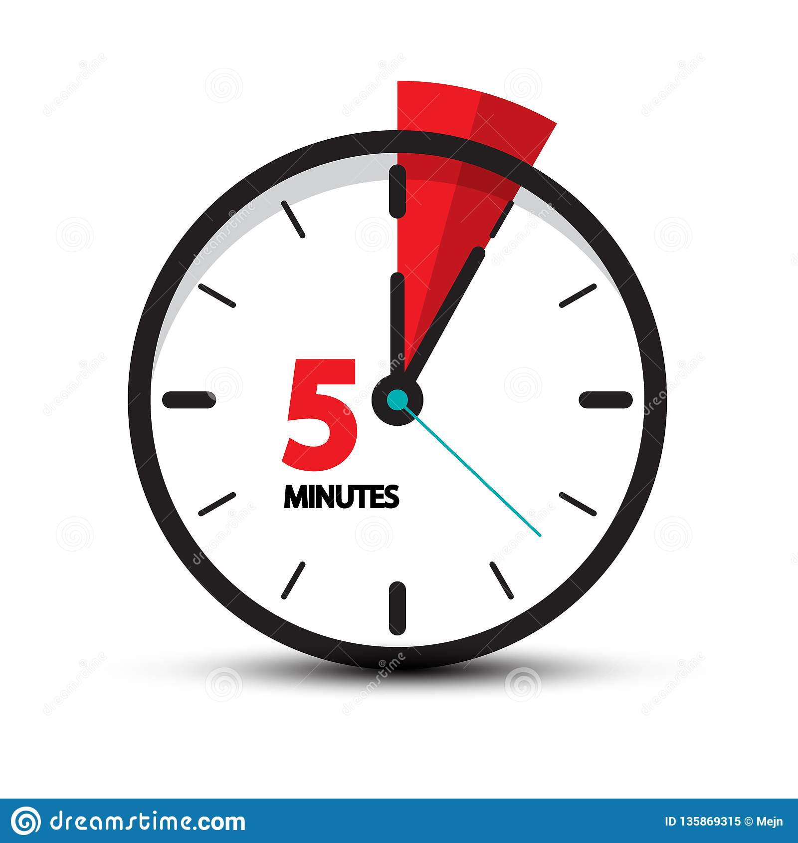 Five Minutes Clock Icon Isolated Stock Illustration