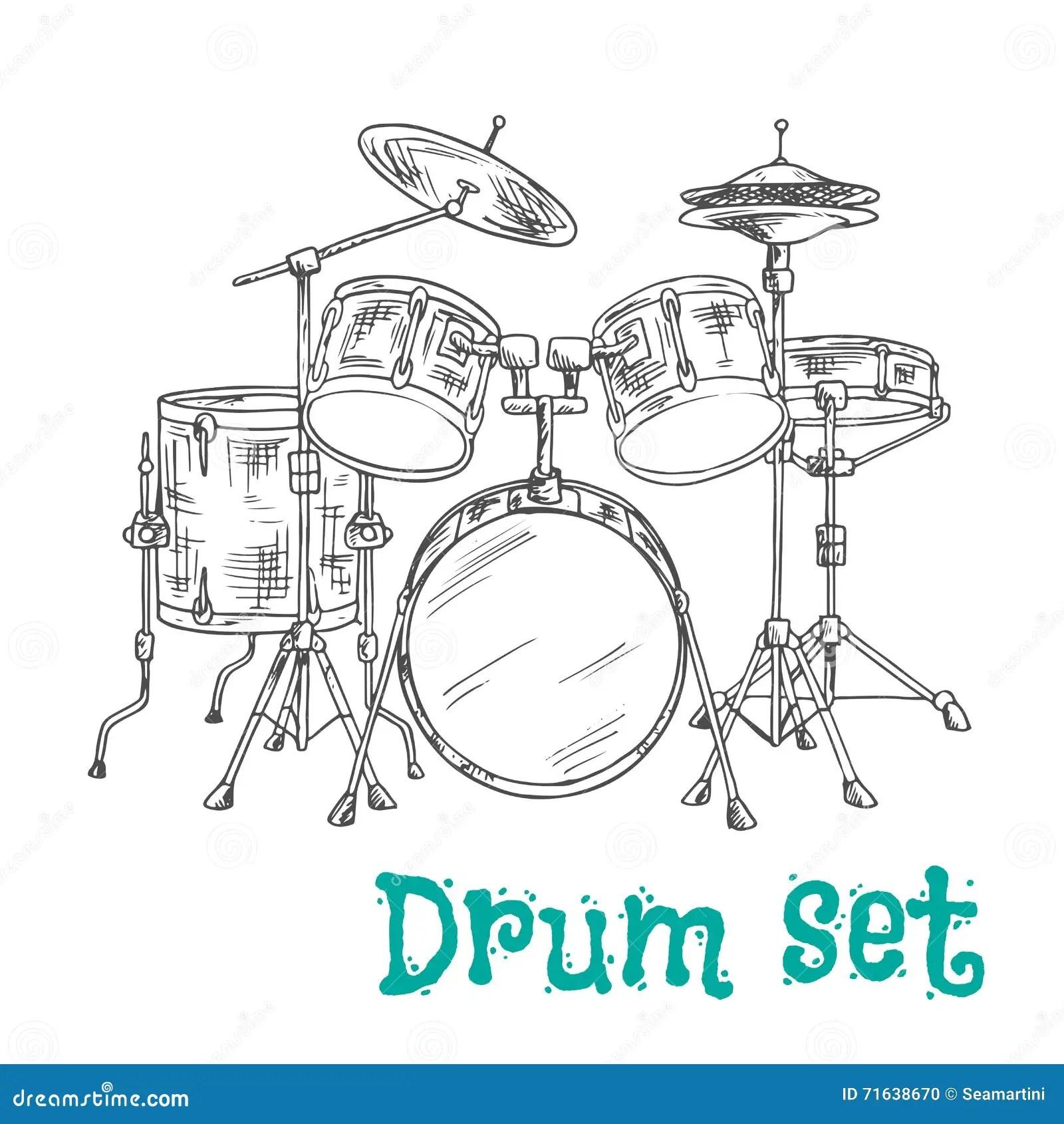Five Piece Drum Kit Sketch Icon Stock Vector