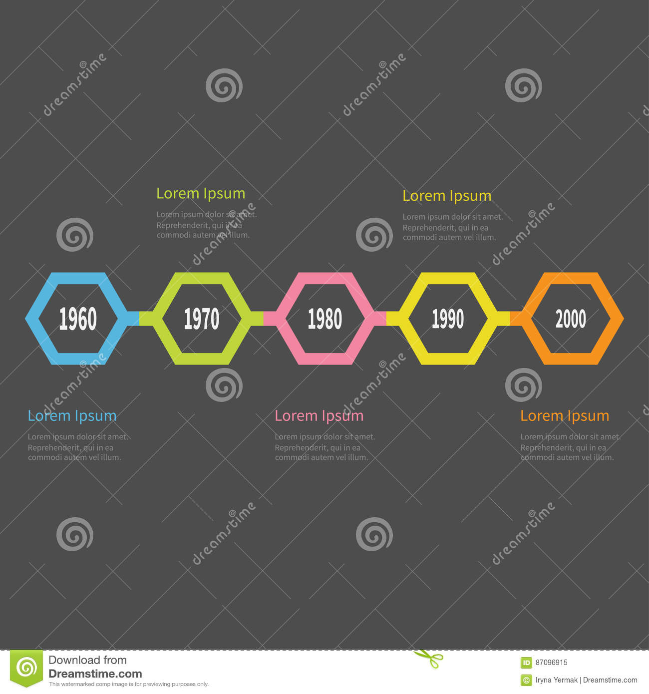 Five Step Timeline Infographic Colorful Polygon Line