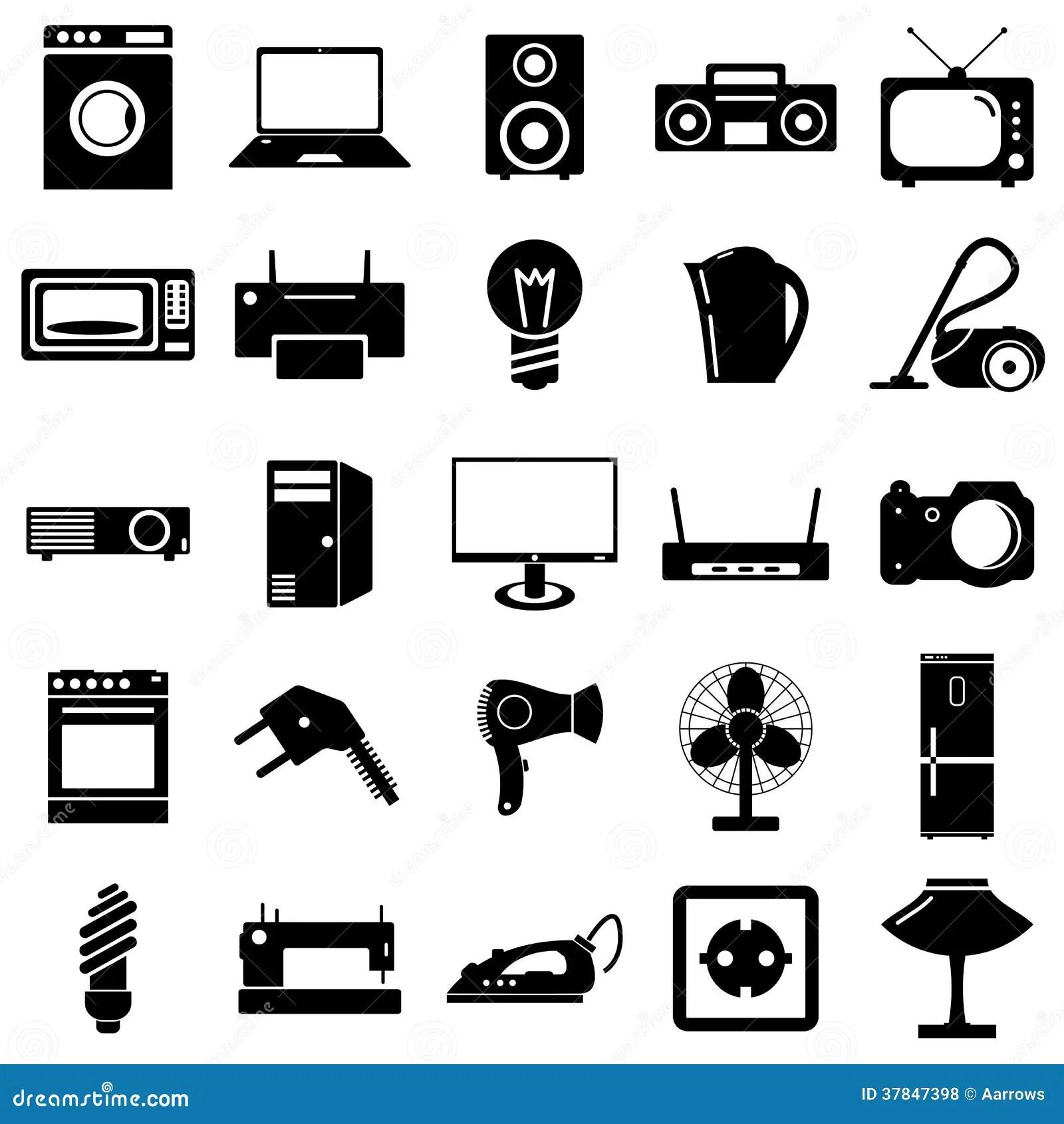 Flache Ikonen Der Sammlung Symbole Der Elektrischen