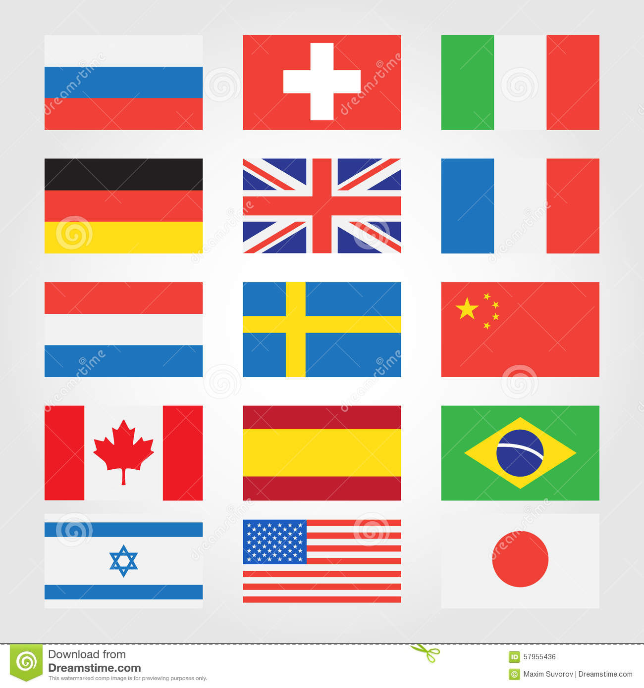 Flags Of Countries Around The World Stock Vector