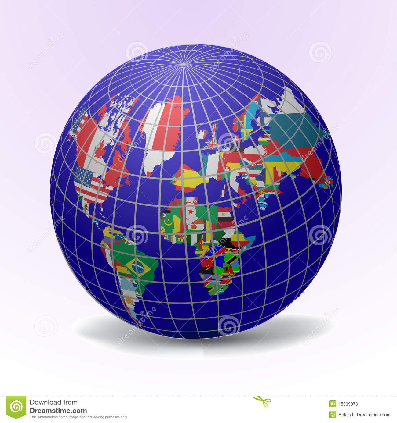 Flags Globe With World Map Stock Vector Illustration Of