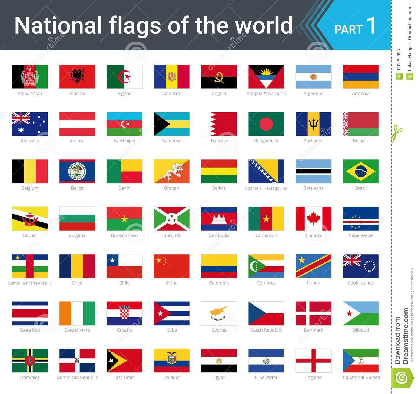 Flags Of The World Vector Illustration Of A Stylized Flag