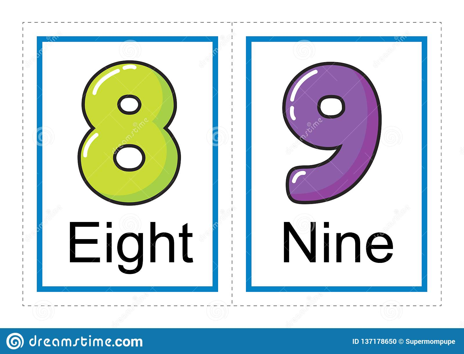 Flash Card Collection For Numbers And Their Names For