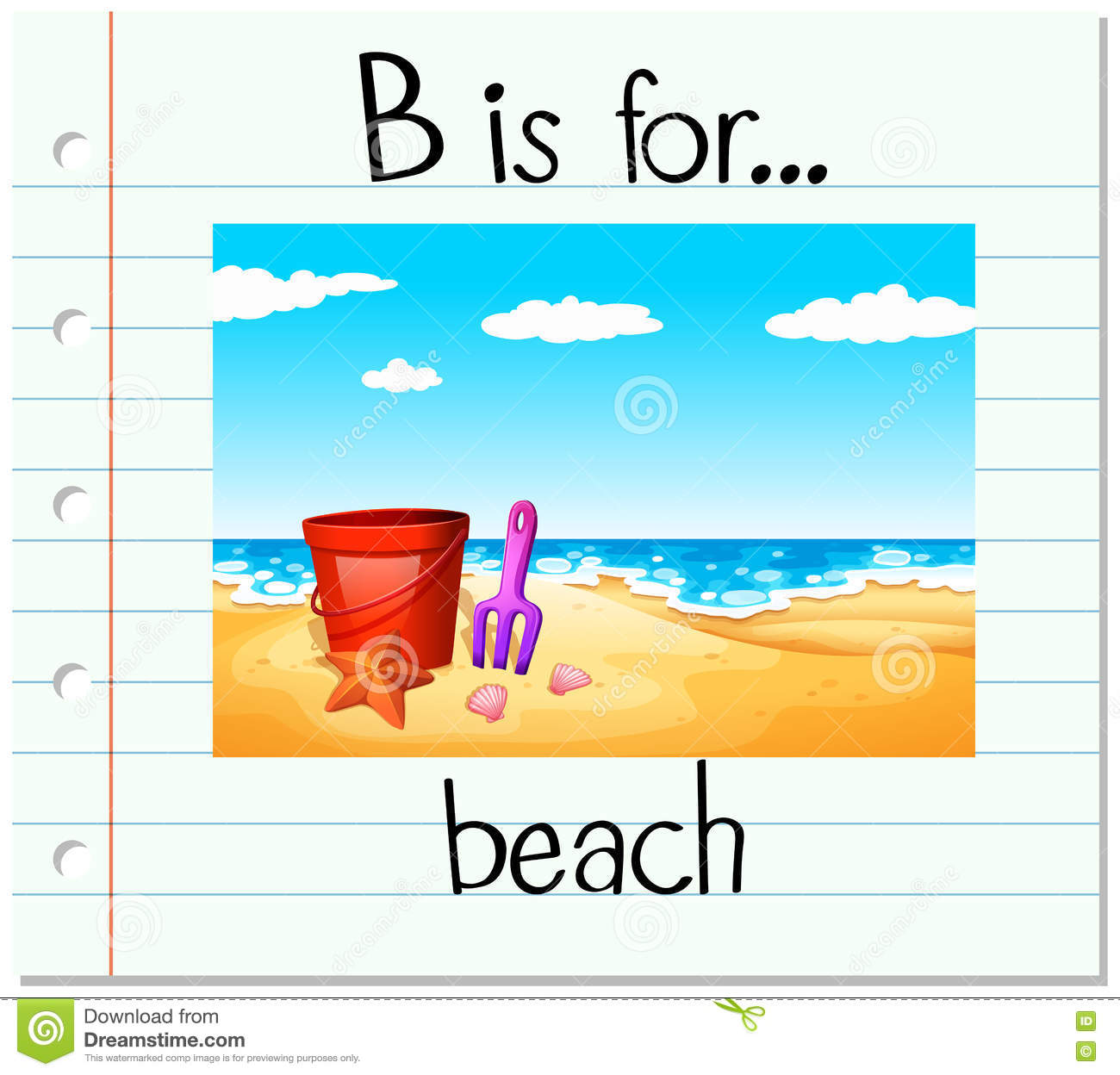 Flashcard Letter B Is For Beach Stock Vector