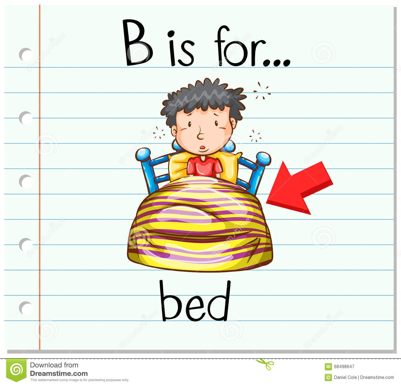 Flashcard Letter B Is For Bed Stock Vector