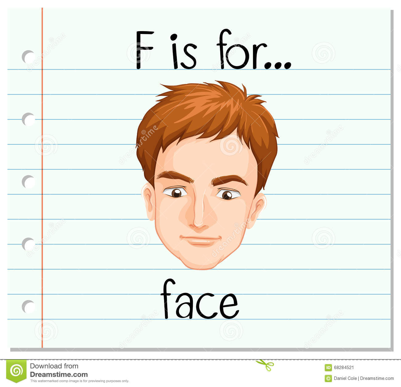 Flashcard Letter F Is For Face Stock Vector