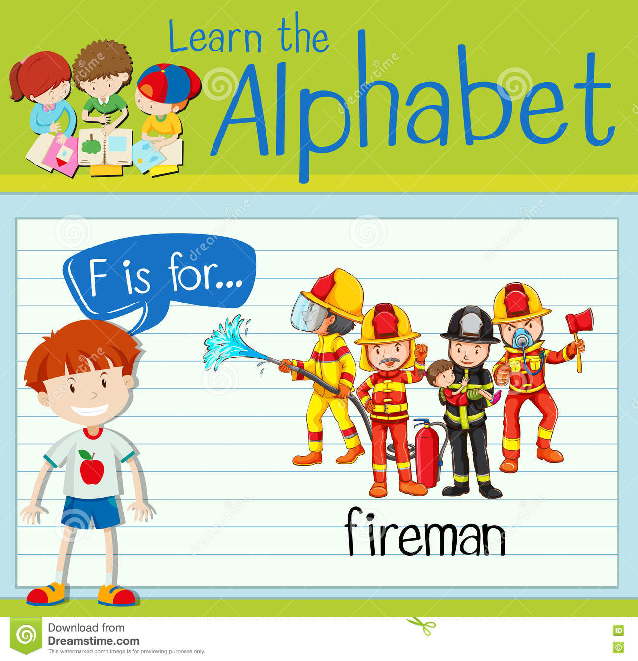Flashcard Letter F Is For Fireman Stock Vector