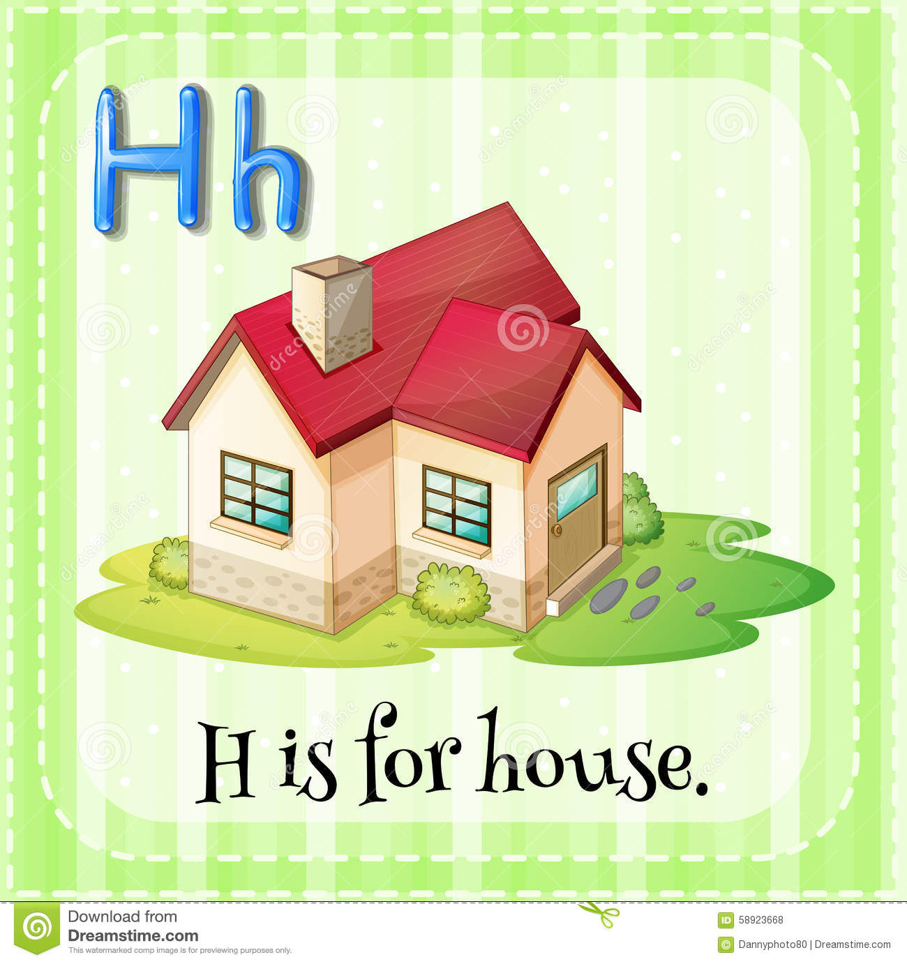 Flashcard Letter H Is For House Stock Vector