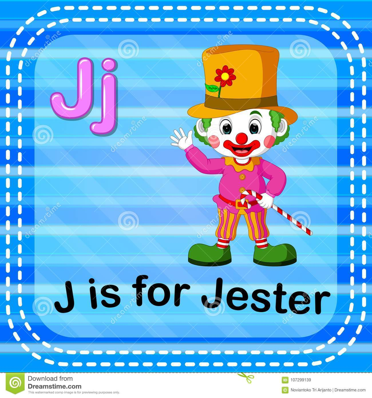 Flashcard Letter J Is For Jester Stock Vector