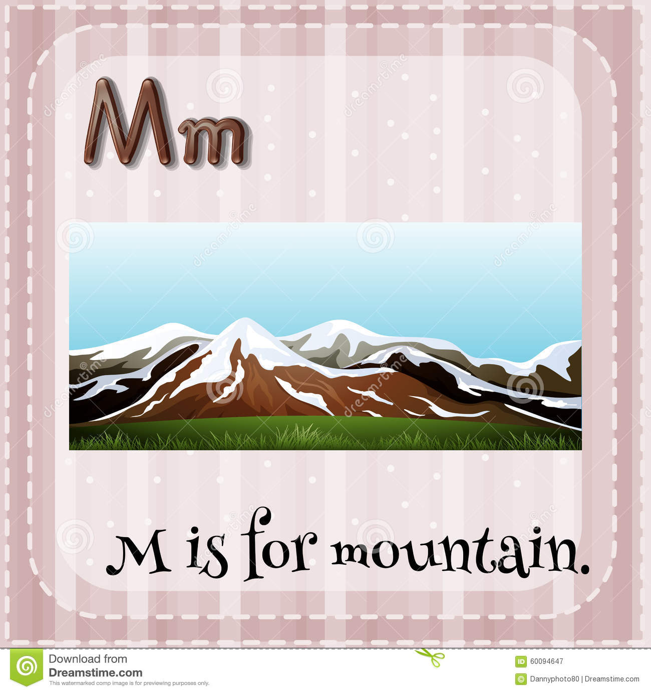 Flashcard Letter M Is For Mountain Stock Vector