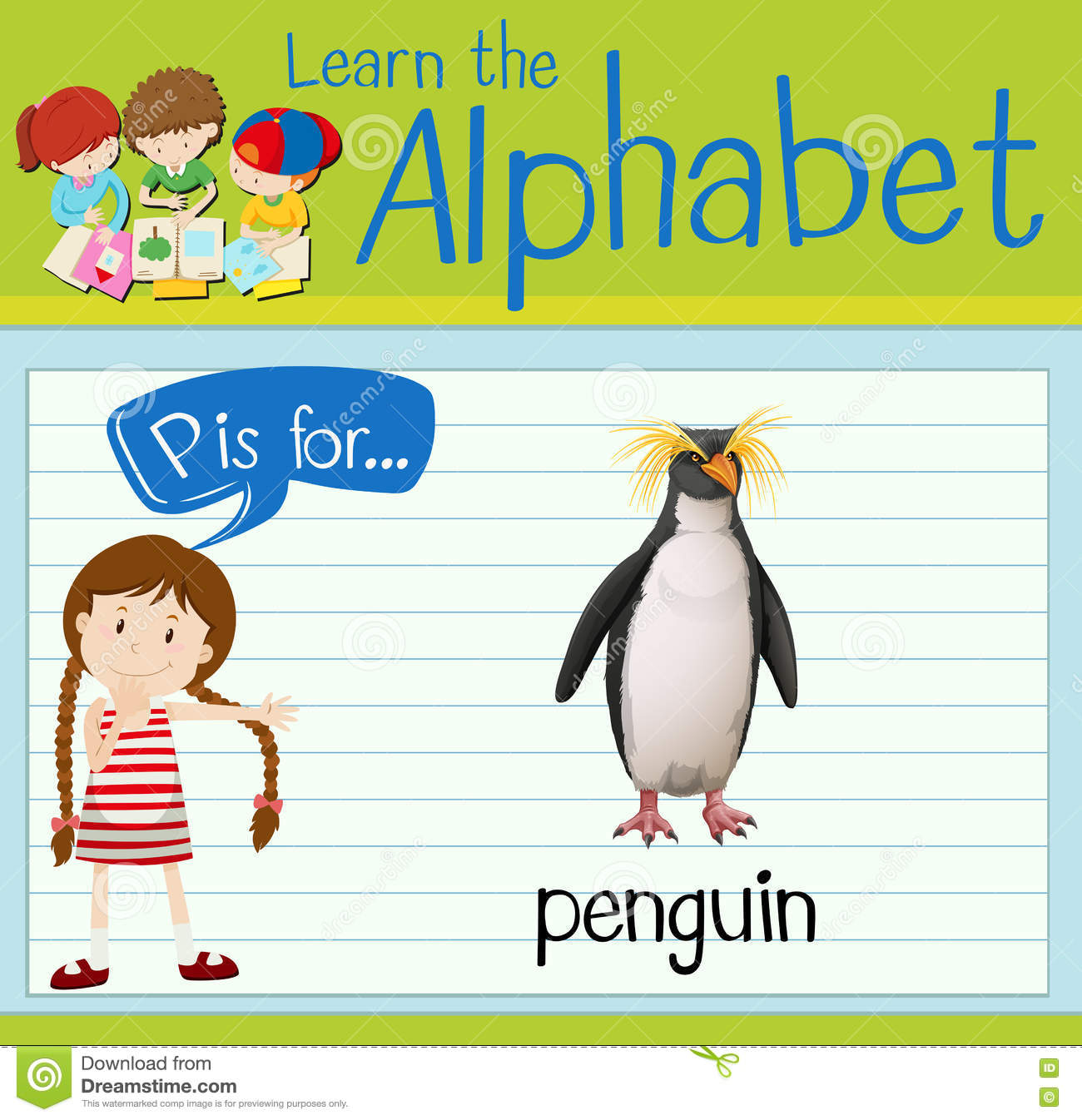 Flashcard Letter P Is For Penguin Stock Vector