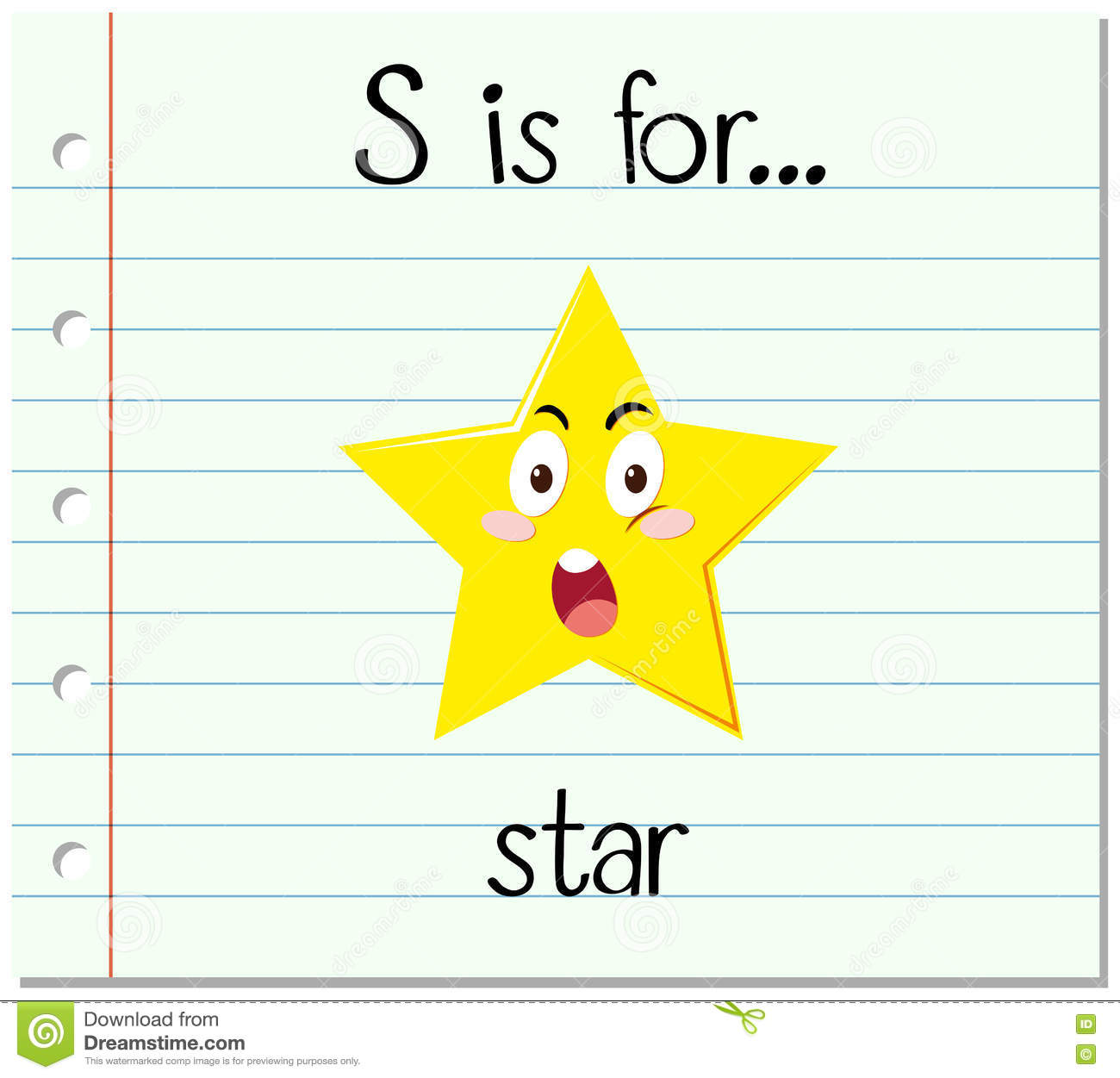 Flashcard Letter S Is For Star Stock Vector