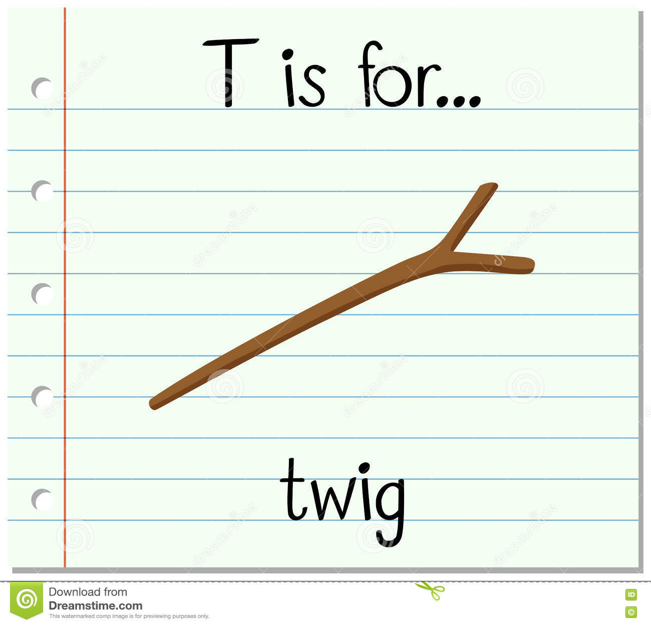 Flashcard Letter T Is For Twig Stock Vector
