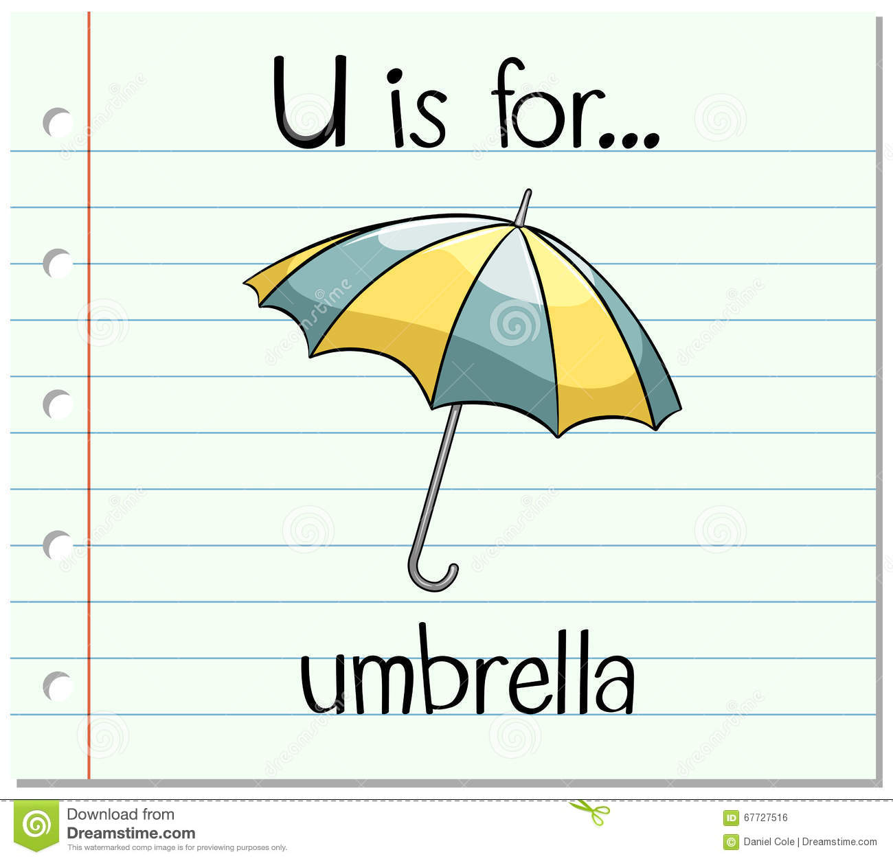 Flashcard Letter U Is For Umbrella Stock Vector