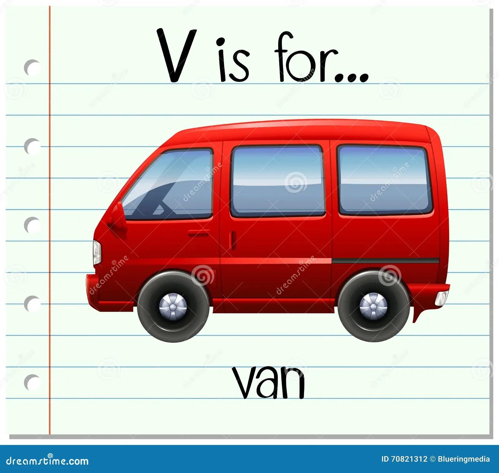 Flashcard Letter V Is For Van Vector Illustration