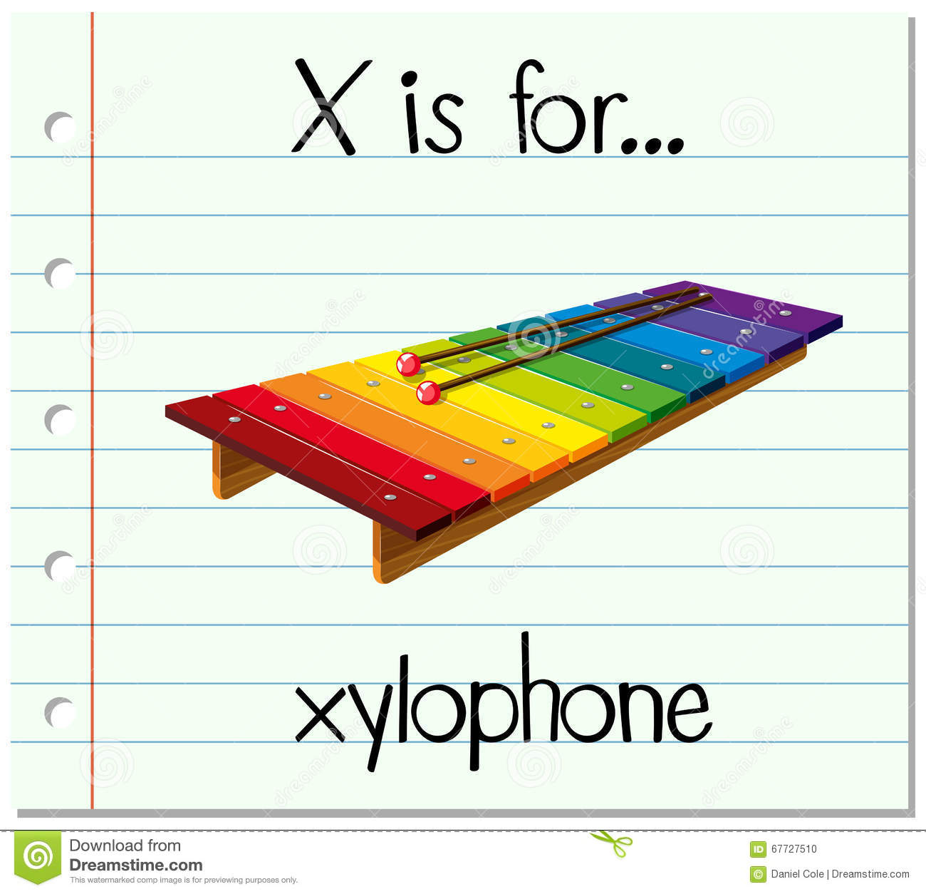 Flashcard Letter X Is For Xylophone Stock Vector