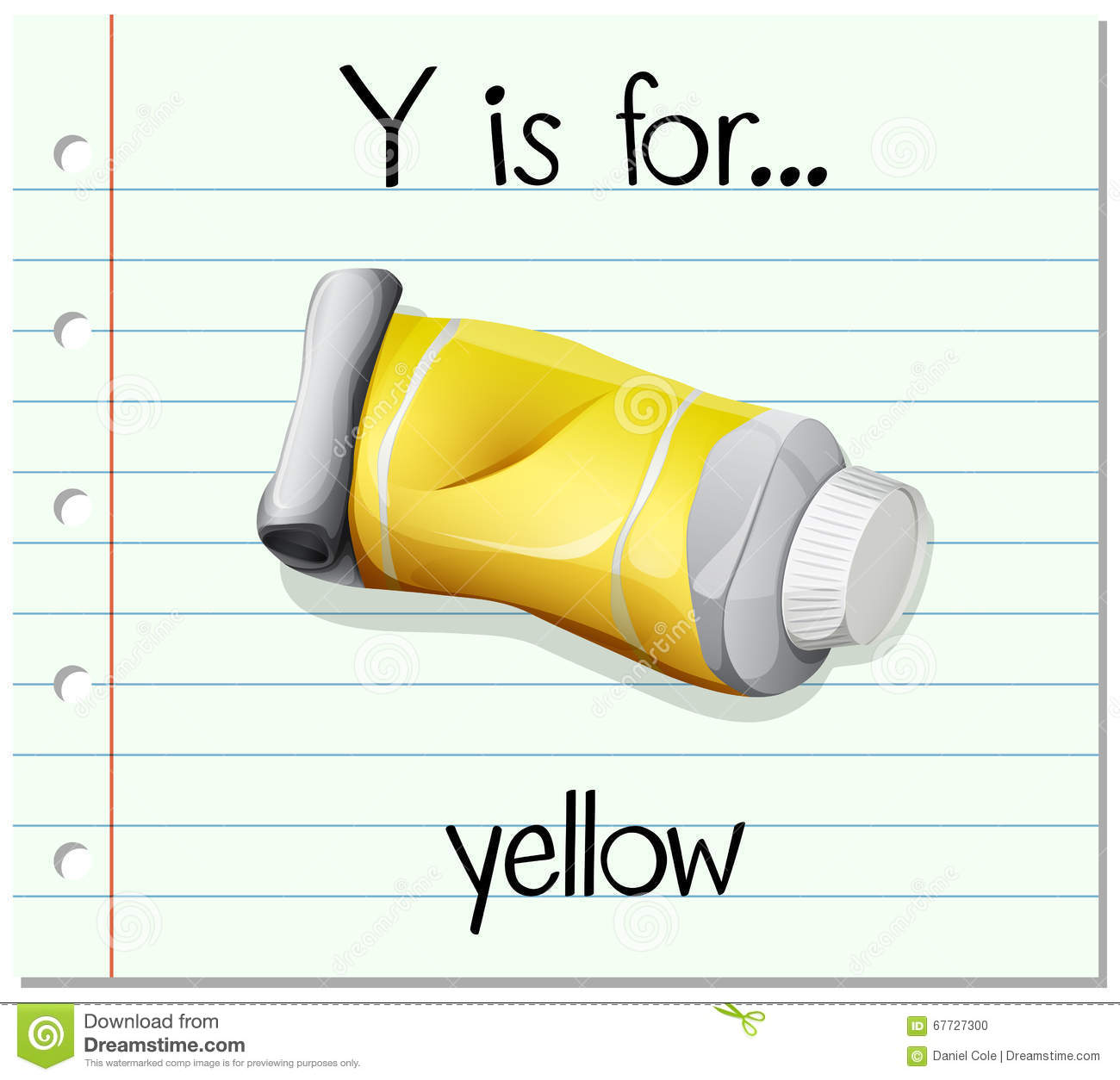 Flashcard Letter Y Is For Yellow Stock Vector