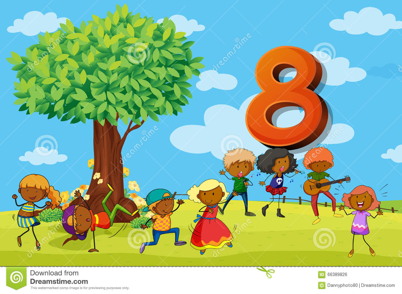 Flashcard Number 8 With Eight Children In The Park Stock