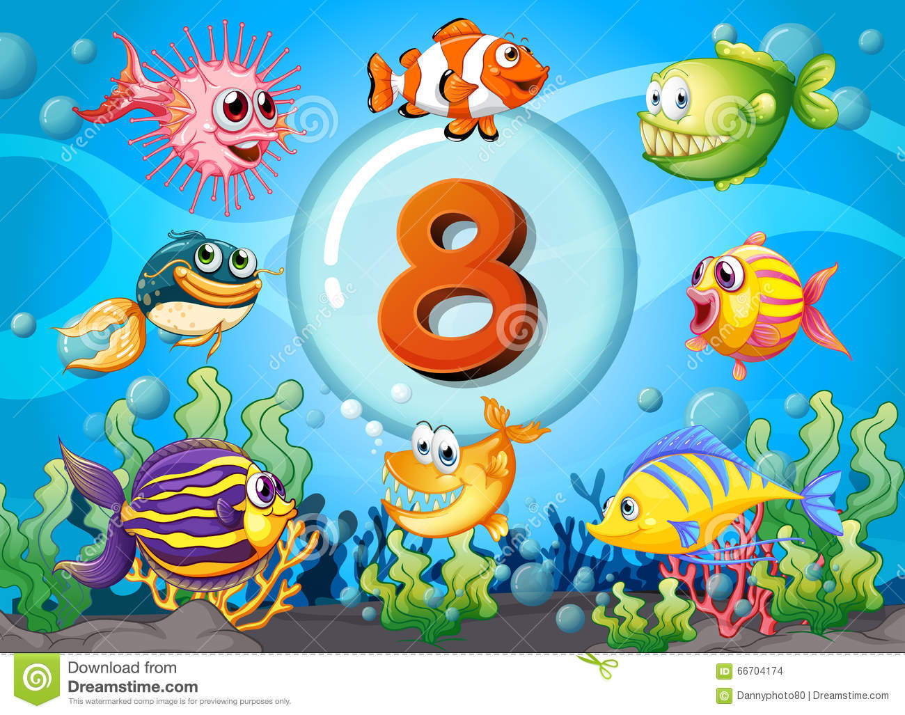 Flashcard Number Eight With 8 Fish Underwater Stock Vector
