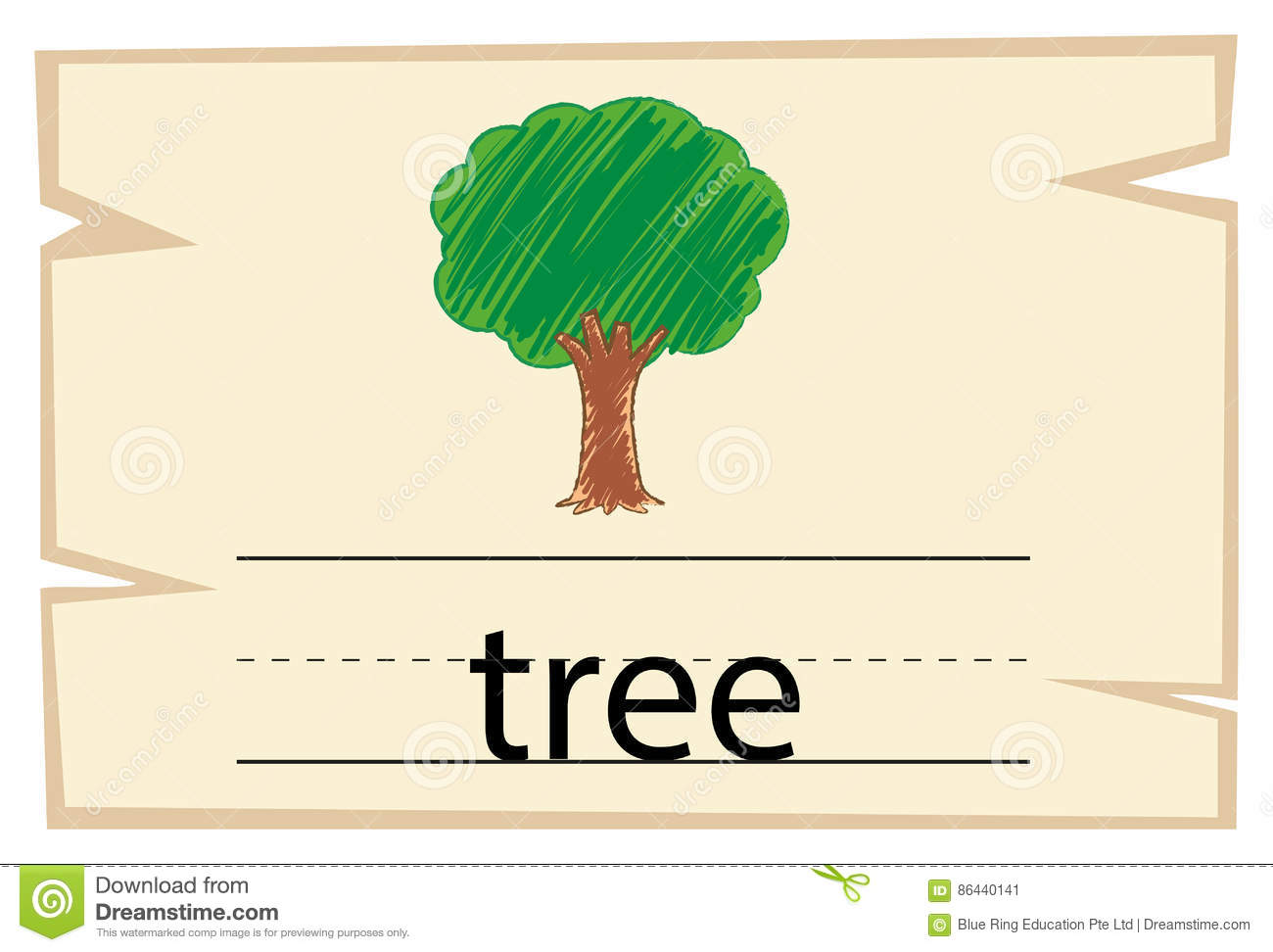 Flashcard For Word Tree Stock Vector Illustration Of