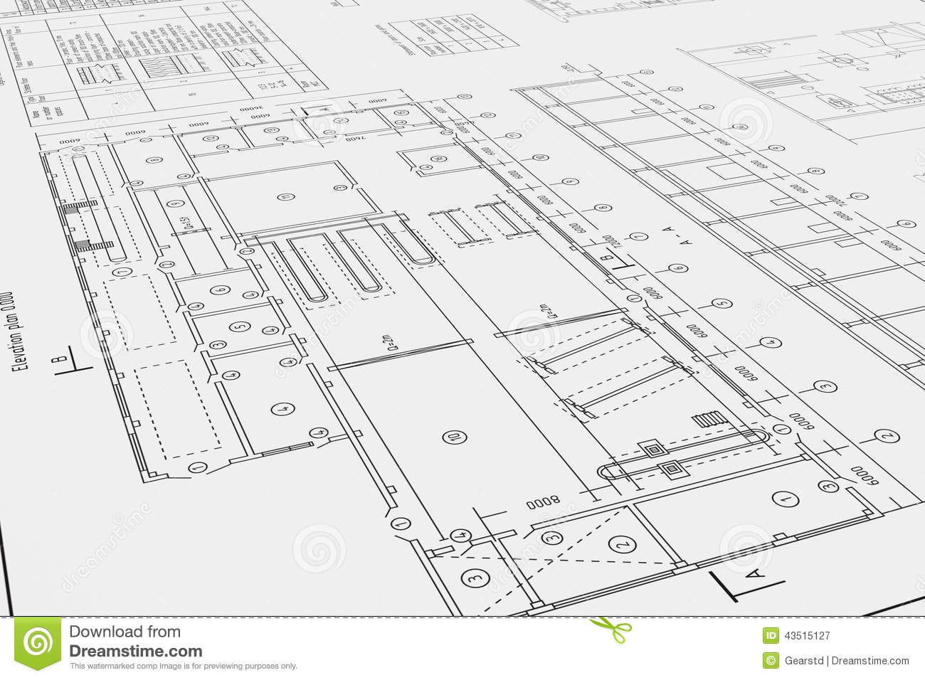 Flat Architectural Drawing And Plan Stock Illustration