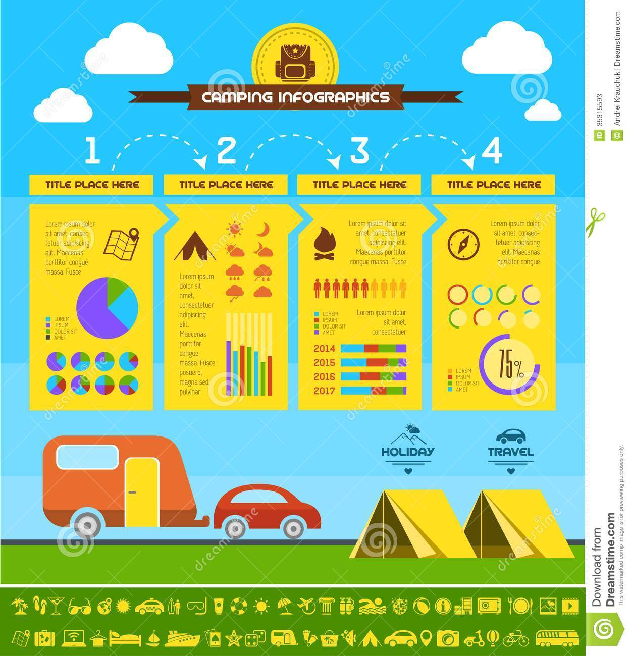 Flat Camping Infographic Template Cartoon Vector