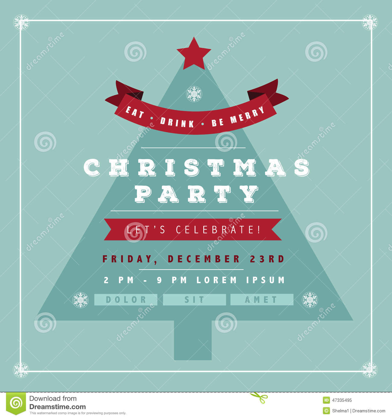 Flat Design Christmas Party Invitation Tree Stock Vector