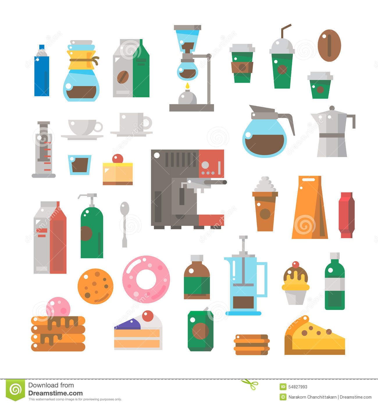 Flat Design Of Coffee Shop Items Set Stock Vector