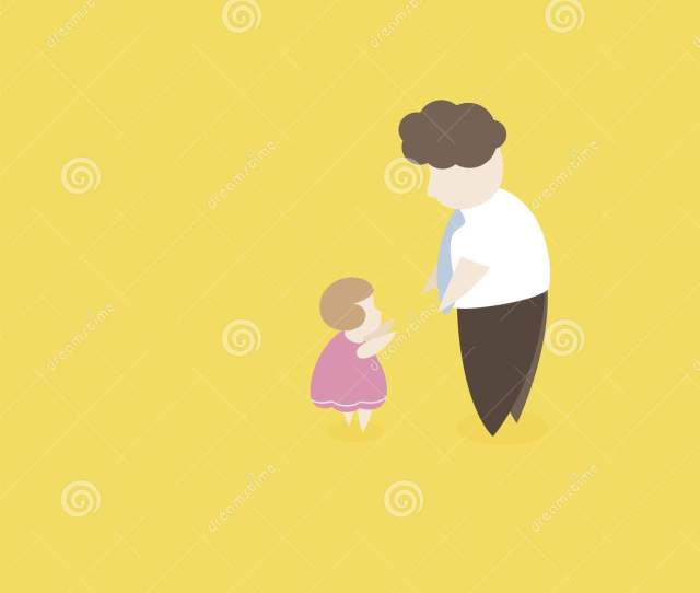 Flat Design Of Fat Curly Hair Family Character