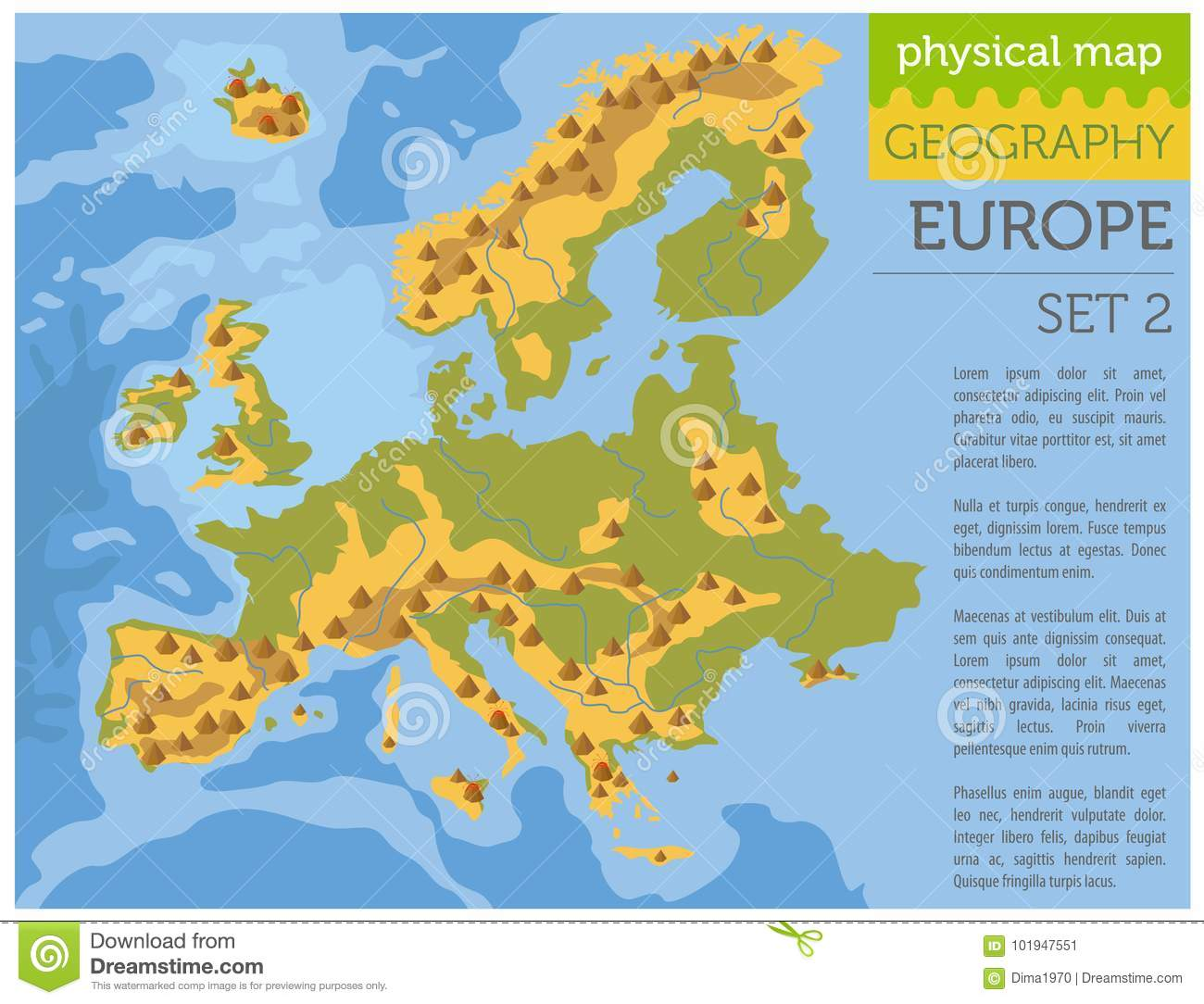Flat Europe Physical Map Constructor Elements On The Water