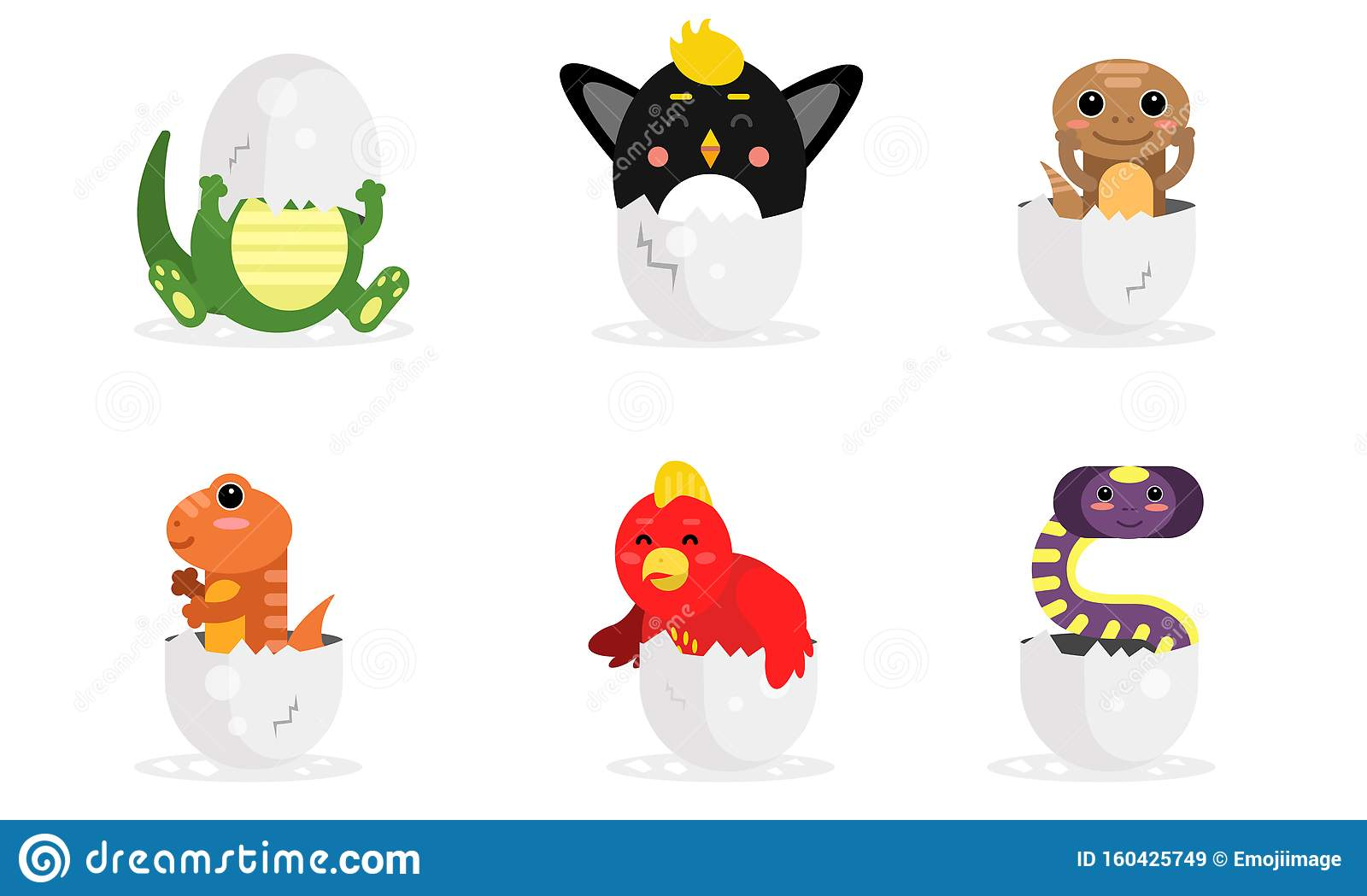 Adorable New Born Animals In Eggs Vector Illustration Set