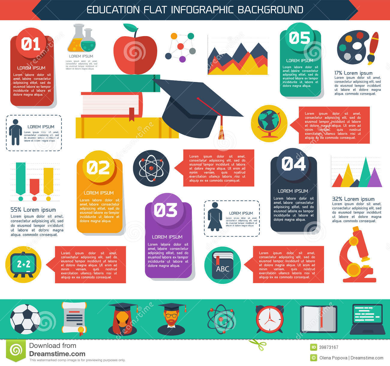 Flat Infographic Education Background Stock Vector