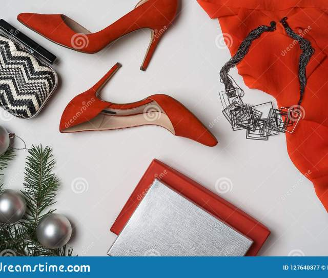 Flat Lay To New Year And Christmas Party Outfit Composition Red Shoes Accessories Jewelry Clutch Fir