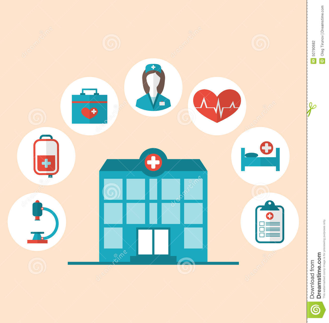 Flat Trendy Icons Of Hospital And Another Medical Objects