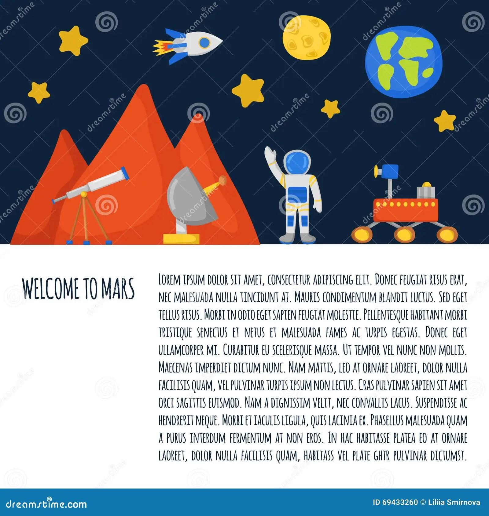 Flight To Mars Concept Stock Vector Illustration Of Earth