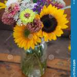 Autumn Flower Bouquet In Mason Jar Vase Stock Photo Image Of Colorful Purple 128289290