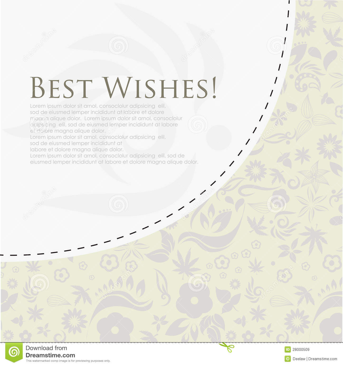 Floral Best Wishes Greeting Card Royalty Free Stock