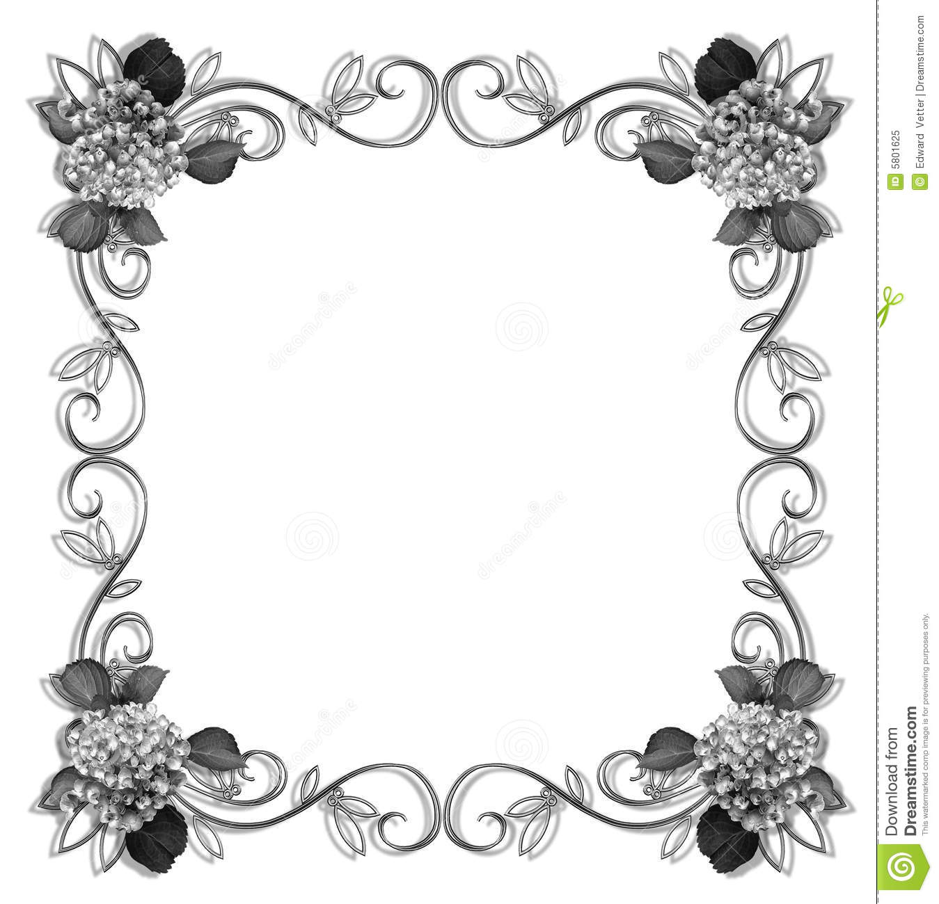 Floral Border Design Element Black And White Stock