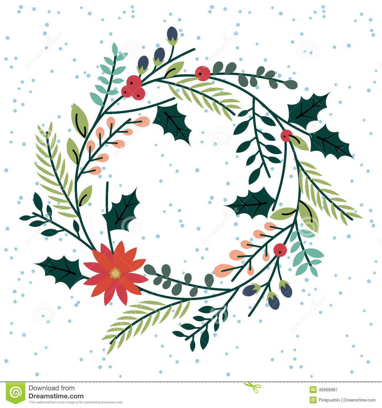 Floral Or Botanical Christmas Wreath Stock Vector Image