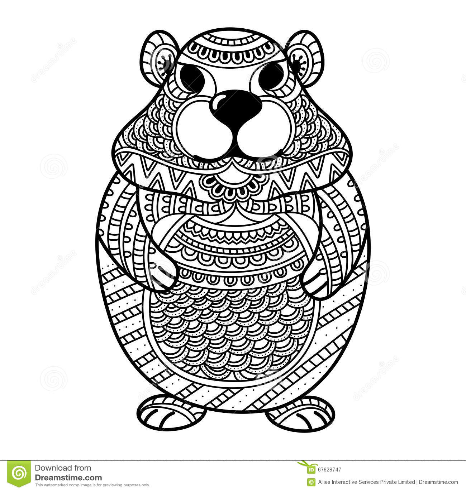 Adult Beaver Sitting On Logs Royalty Free Cartoon