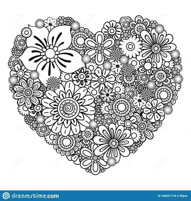 Floral heart coloring page stock vector. Illustration of