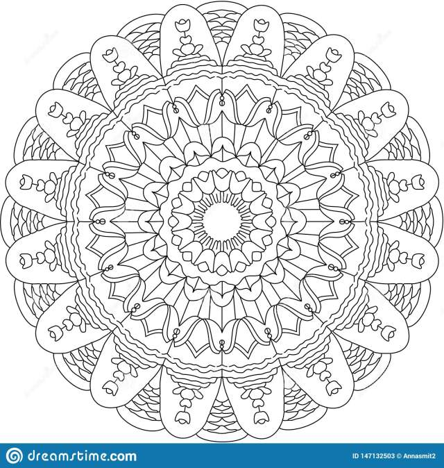 Floral Mandala Coloring Page Stock Vector - Illustration of