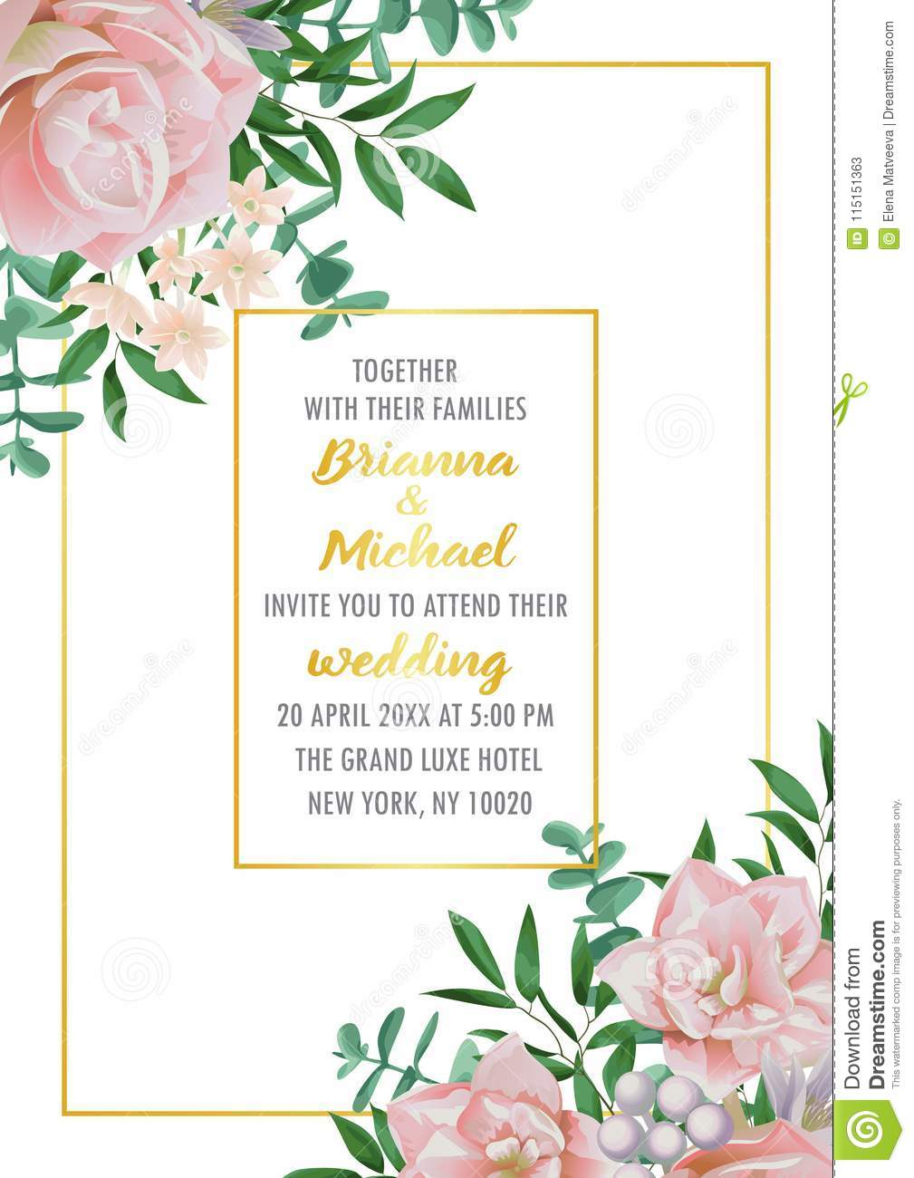 https www dreamstime com floral wedding invitation flowers herb bushes branches watercolor style white background greenery botanical image115151363
