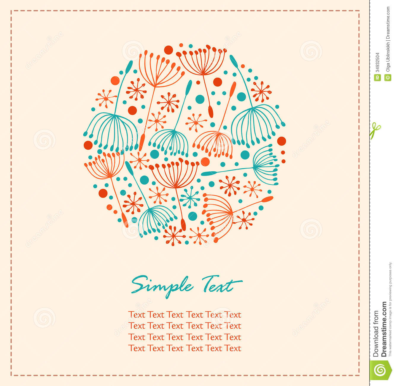 Flourish Hand Drawn Cute Card Lace Doodle Round Element