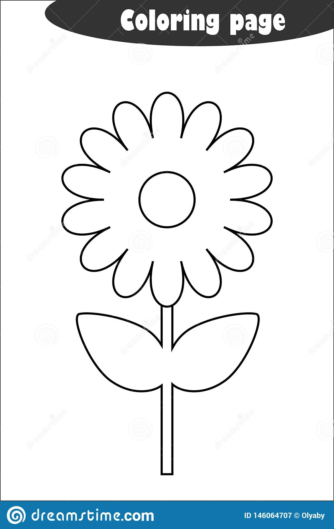 Flower In Cartoon Style Coloring Page Spring Education