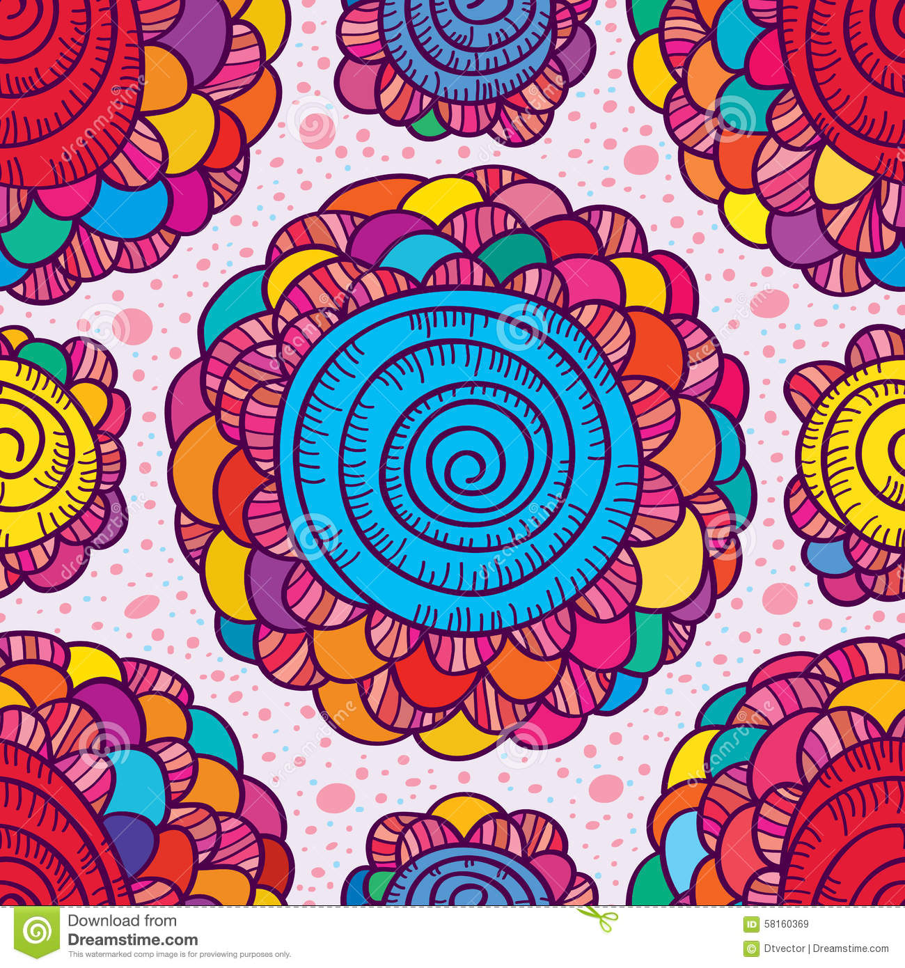 colorful flower hand drawing swirl design seamless pattern