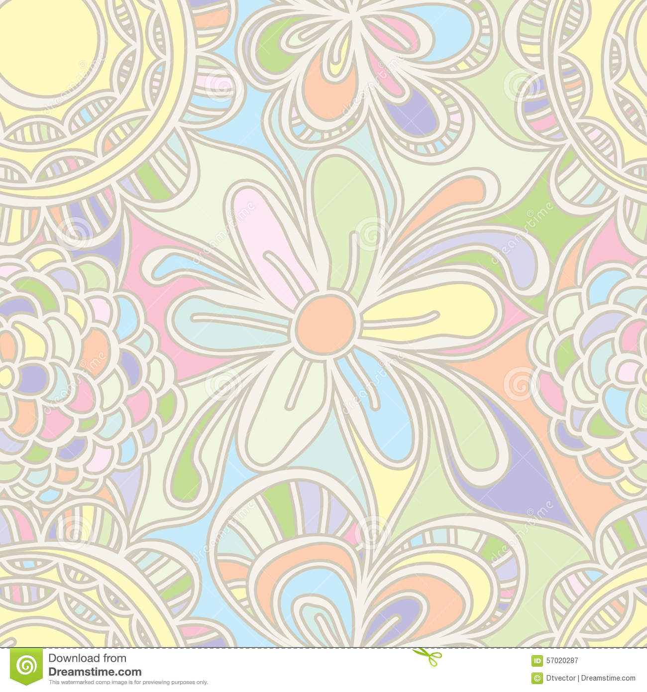 illustration abstract drawing flower pastel color seamless pattern